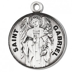 """St. Gabriel Sterling Silver Round w/20"""" Chain - Boxed"""