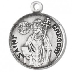 """St. Gregory Sterling Silver Round w/20"""" Chain - Boxed"""