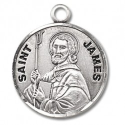 """St. James Sterling Silver Round w/20"""" Chain - Boxed"""