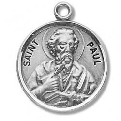 "St. Paul Sterling Silver Round w/20"" Chain - Boxed"