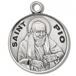 """St. Pio Sterling Silver Round w/20"""" Chain - Boxed"""