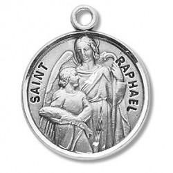 "St. Raphael Sterling Silver Round w/20"" Chain - Boxed"