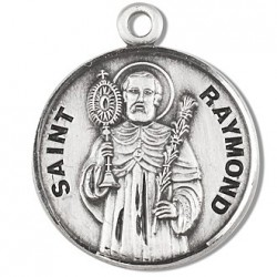 "St. Raymond Sterling Silver Round w/20"" Chain - Boxed"