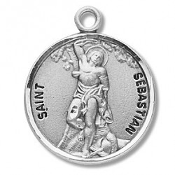 "St. Sebastian Sterling Silver Round w/20"" Chain - Boxed"