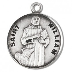 """St. William Sterling Silver Round w/20"""" Chain - Boxed"""