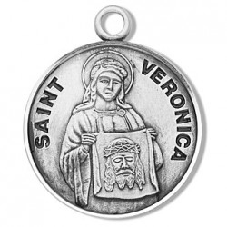 "St. Veronica Sterling Silver Round w/18"" Chain - Boxed"