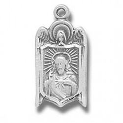 "Angel Shield Scapular Sterling Silver 18"" Chain - Boxed"
