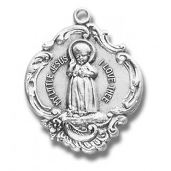 "Sterling Silver Large Baroque Infant Jesus w/18"" Chain - Boxed"