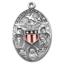 """Sterling Silver Oval Military 3 Way with Epoxy Shield w/24"""" Chain - Boxed"""