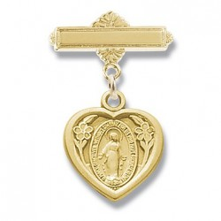 Gold Over Sterling Silver Bar Pin w/Small Miraculous Heart - Boxed