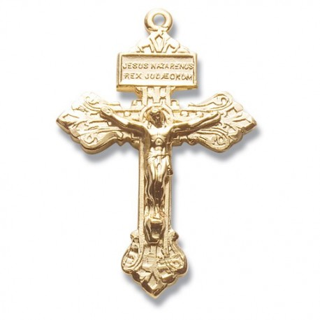"""14K Gold Over Sterling Silver Small Pardon Crucifix w/24"""" Chain - Boxed"""