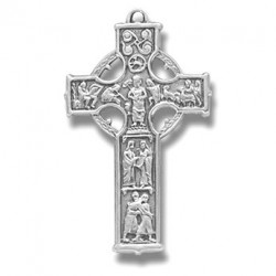 """Sterling Silver Small Celtic Cross w/18"""" Chain - Boxed"""