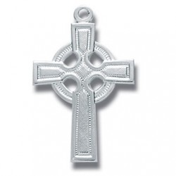 """Sterling Silver Small Plain Celtic Cross w/18"""" Chain - Boxed"""