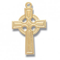 """Gold Over Sterling Silver Small Plain Celtic Cross w/18"""" Chain - Boxed"""