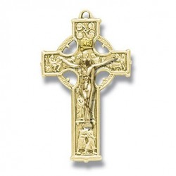 """Gold Over Sterling Silver Small Celtic Crucifix w/18"""" Chain - Boxed"""
