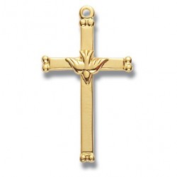 "Gold Over Sterling Silver Medium Holy Spirit Cross w/18"" Chain - Boxed"