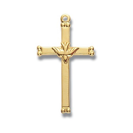 """Gold Over Sterling Silver Medium Holy Spirit Cross w/18"""" Chain - Boxed"""