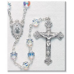 8mm Swarovski Semi Flat Crystal Sterling Silver Rosary - Boxed