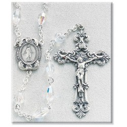 6mm Swarovski Oval Crystal Sterling Silver Rosary - Boxed
