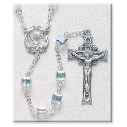 6mm Swarovski Crystal Cube Sterling Silver Rosary - Boxed