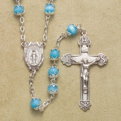 6mm Light Blue Imitation Pearl Capped Rosary with Sterling Silver Crucifix & Center - Boxed