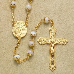 6mm Imitation Pearl Capped Rosary with 14K Gold Over Sterling Silver Crucifix & Center - Boxed