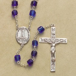 6mm Cube Cobal Light Blue Rosary with Sterling Silver Crucifix & Center - Boxed