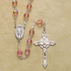 6mm Light Rose Rosary with Sterling Silver Crucifix & Center - Boxed