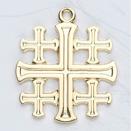 14K Jerusalem Cross w/14K Jump Ring - Boxed