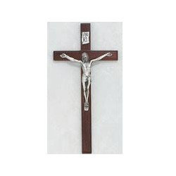 "10"" Cherry Wood Crucifix w/Silver Corpus"