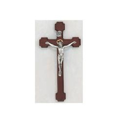 "10"" Cherry Wood Crucifix w/Two Tone Corpus"