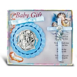 Guardian Angel Crib Medal and Pearlized Cross - Boy