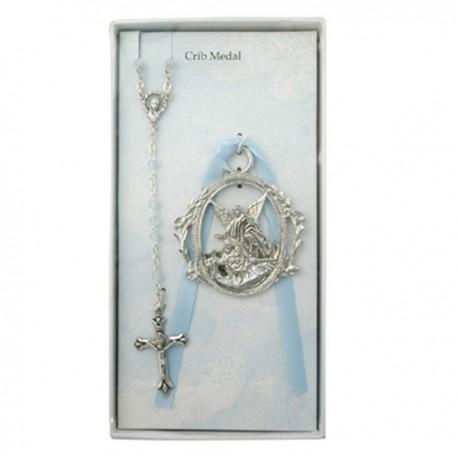 Guardian Angel Crib Medal and Rosary Set