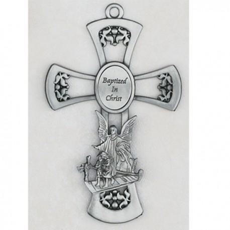 Pewter Guardian Angel Cross