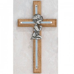 Boy Praying Oak Cross