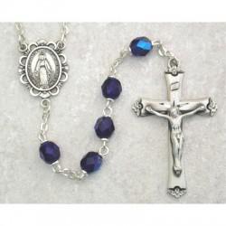 6mm Sterling Silver Blue/September Rosary