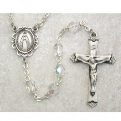 6mm Sterling Silver Crystal/April Rosary