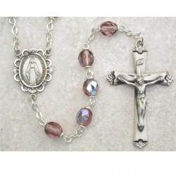 6mm Sterling Silver Dark Amethyst/February Rosary