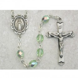 6mm Sterling Silver Peridot/August Rosary