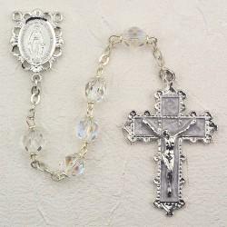 6mm Crystal/April Rosary w/Enamel Crucifix