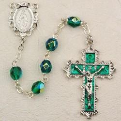 6mm Emerald/May Rosary w/Enamel Crucifix