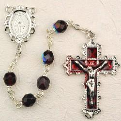 6mm Garnet/January Rosary w/Enamel Crucifix