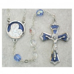 7mm Light Blue Rosary with Enamel