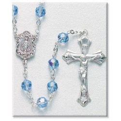 7mm Swarovski Light Sapphire Sterling Silver Rosary - Boxed