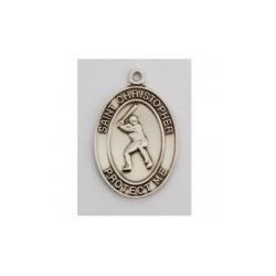 "St. Christopher Sterling Silver Baseball Medal w/24"" Chain - Boxed"