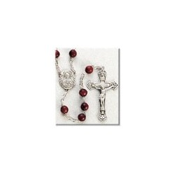 7mm Maroon Cocoa Bead Sterling Silver Rosary - Boxed