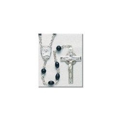 Black Oval Cocoa Bead Sterling Silver Rosary - Boxed