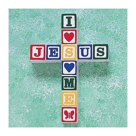 I Love Jesus Block Wall Cross