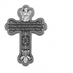 Pewter Wall Cross with Girl Blessing