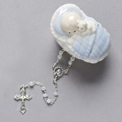 Baby Boy Porcelain Box w/Rosary